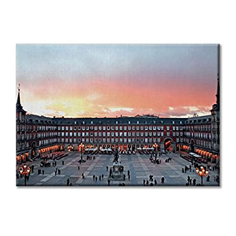 Leinwand-Panel Leinwand Spanien Madrid Plaza Maior Sunset Mobel 100x70