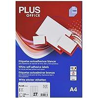 Plus Office 10683/001630 - Etiquetas autoadhesivas de cantos rectos, 2700 eti/caja, 70 x 32 mm, blanco
