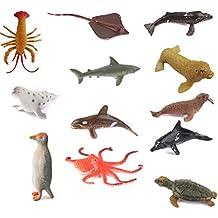 12pcs Plástico Juguete Figuras Modelos Animales Marinos para Niños Multicolor