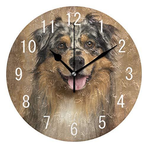 uhr, australischer Hund, Vintage, rund, Acryl, geräuschlos, für Wohnzimmer, Küche, Schlafzimmer ()