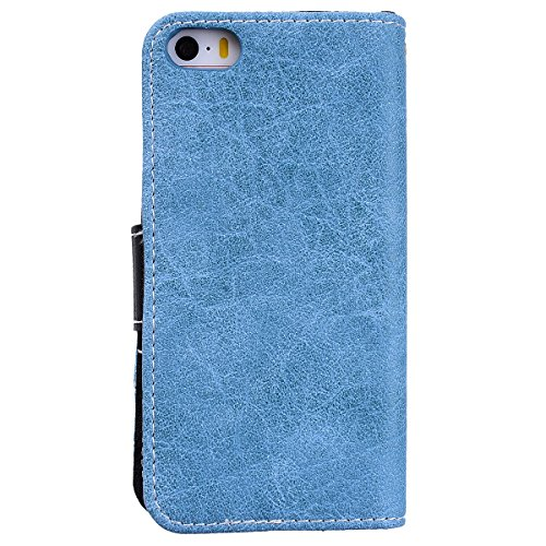 WE LOVE CASE iPhone SE / 5 / 5S Hülle Einfarbig Im Retro Style Muster iPhone SE / 5 / 5S Lederhülle Blau Handyülle Flip Schutzhülle Tasche Backcover Stoßfest Protective Bumper Case Cover Intern TPU Si blue