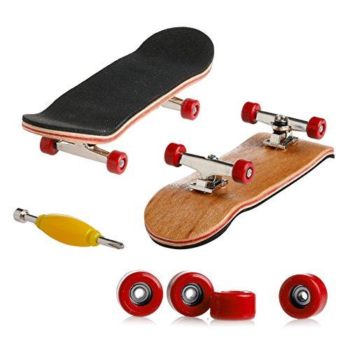 Dairyshop Mini-Finger-Skateboard, Profi-Fingerboard, Ahornholz, für Kinder, 1Bastelset rot -