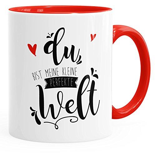 MoonWorks Kaffee-Tasse Du Bist Meine Kleine Perfekte Welt Geschenk-Tasse Liebe Innenfarbe Rot...