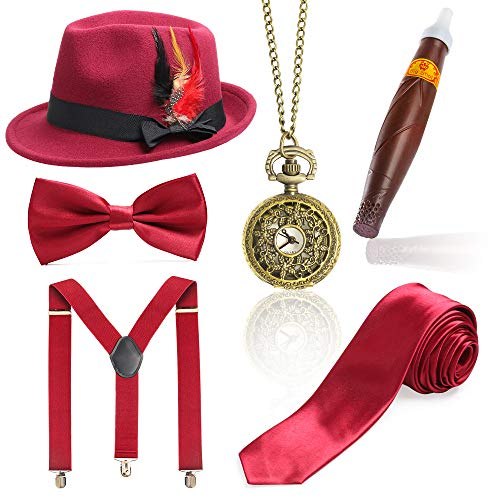 Beelittle 1920er Jahre Mens Gatsby Zubehör Set Trilby Manhattan Fedora Hut, Y-Rücken Hosenträger, Gangster Krawatten, Puff Zigarre, Vintage Taschenuhr (K)