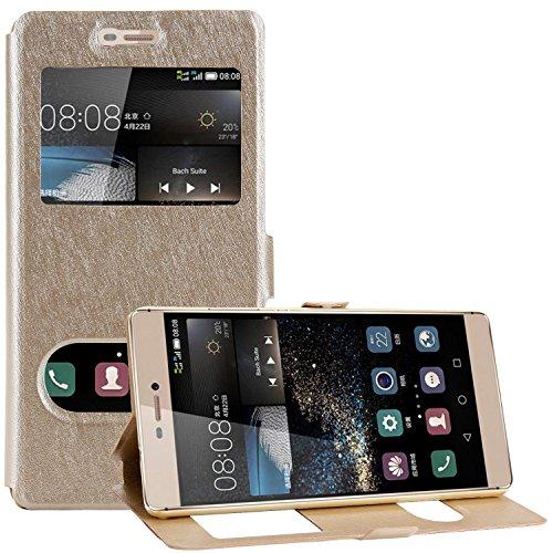 Bingsale Flip Cover Case Huawei P8 Hülle Schutzhülle (Huawei P8, Champagne Gold)
