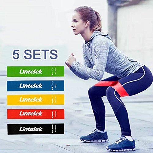 Lintelek Bandas de Resistencia para Ejercicio, para piernas, glúteos, Yoga, Crossfit, Fitness, Terapia Física con Bolsa de Transporte, EBook, Juego de 5