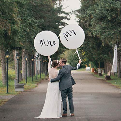 "Amycute Riesen Hochzeits Ballons, 2 Stück 36"" MR & MRS Luftballons Latex Ballons Weiß Mr&Mrs Deko Girlande Dekoration Hochzeit Set."