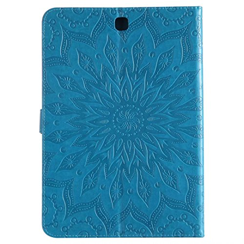 LEMORRY Samsung Galaxy Tab A 9.7 / T550 T555 Custodia Pelle Cuoio Portafoglio Borsa Sottile Bumper Protettivo Magnetico (con Porta Carte di CRossoito) Morbido Silicone TPU Flip Cover Tavoletta Custodi Blu