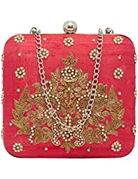 Tarusa Pink Silk Clutch With Delicate Zari And Pearls Embroidery For Women