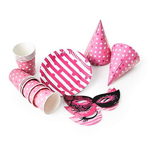 ller Becher Masken Hüte Party Hütchen Partyteller Pappbecher Karnevalsmasken für Geburtstag Fasching Karneval Silvester oder Kinderparty matt glänzend ()