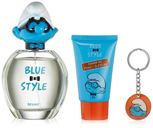 THE SMURFS Brainy Eau de Toilette en Vaporisateur Gel Douche/Porte-Clés Ensemble Bleu Style