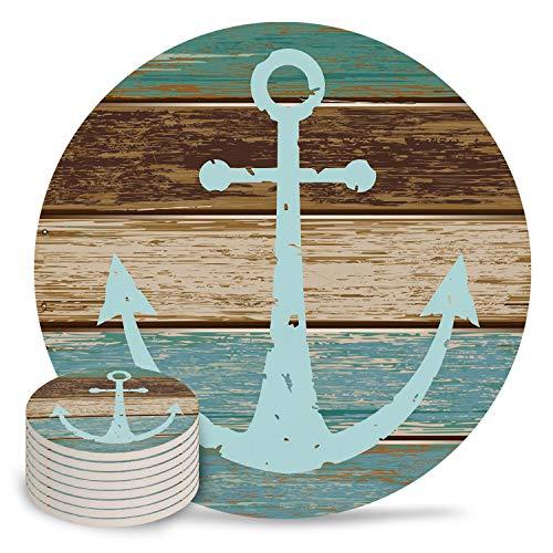 Getränkeuntersetzer aus Keramik, nautischer Anker rustikales Holz, saugfähig, Steinuntersetzer mit rutschfester Korkunterseite, ohne Halter für Tassen, keramik, Xkbdsu-32, 8-Piece Set -