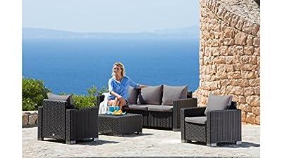 BEST 5-tgl. Loungeset Mombasa, 3er-Sofa, 2 Sessel, Tisch 68x68 cm, Kunststoff, inkl. Auflagen