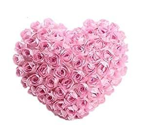 DAYAN Cotone Rose a forma di cuore cuscino di tiro iniziale Cushion-40 * 45cm Coppia Regali, Regali di Natale per lei, Carino Regali per Lei-Rosa San Valentino