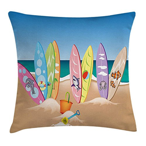 illow Cushion Cover, an Illustration Collection of Surfboards on The Sandy Beach The Sky and The Sea Print, Decorative Square Accent Pillow Case, 18 X 18 Inches, Multicolor ()