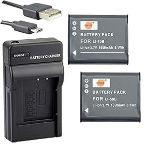 DSTE Li-50B Li-ion Batteria (2-Pacco) e Caricabatterie USB per Olympus Stylus 1010 1020 1030 9000 9010 SP-800UZ SP-810UZ SZ-10 SZ-11 SZ-12 SZ-15 SZ-20 SZ-30MR SP-720UZ