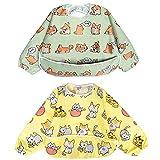Babero Impremeable con mangas larga para bebé Manga Larga Resistente al agua Lavable Bebé Niños Alimentación Babero de Manga Larga (Cachorro / Gato)
