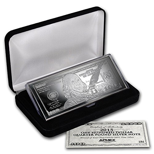 4 Unzen Silberbarren mit 100$ Schein Motiv * 999/1000 Feinsilber mit Zertifikat -
