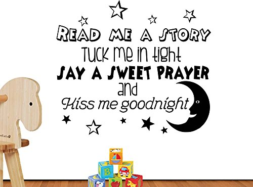 # 3 Read Me A Story Tuck Me in Tight Say A Sweet Prayer Stars Cute Inspirierende Family Love Vinyl Zitat Spruch Art Wand Schriftzug Schild Room Decor