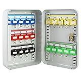 HMF 12525-07 Armoire à clés 25 Crochets, Barrettes à Crochets réglables, 25 x 17 x 7,5 cm, Gris Clair