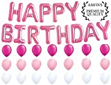 #6: AMFIN® (16 inch) Happy Birthday Letter Foil Balloons / Birthday Party Supplies / Happy Birthday Balloons for Party Decoration Combo - Pink