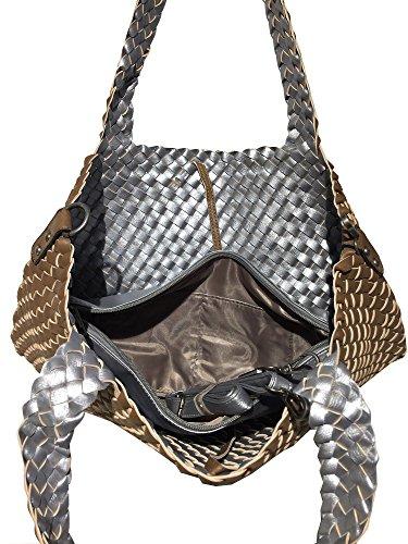 Fashion, Borsa tote donna Camel / Silber