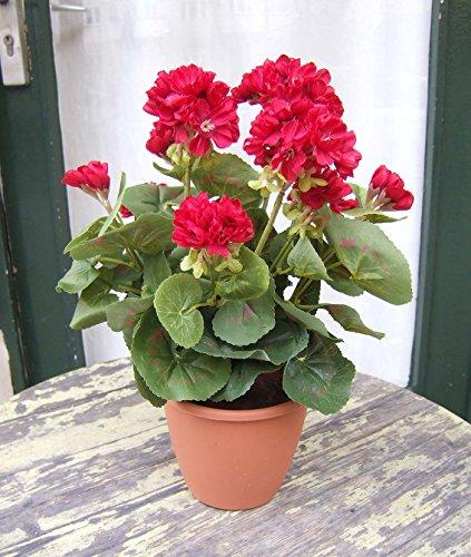 Künstliche Geranien bayrisch rot - 2 Stück sehr schön , naturgetreu Top-Qualität …