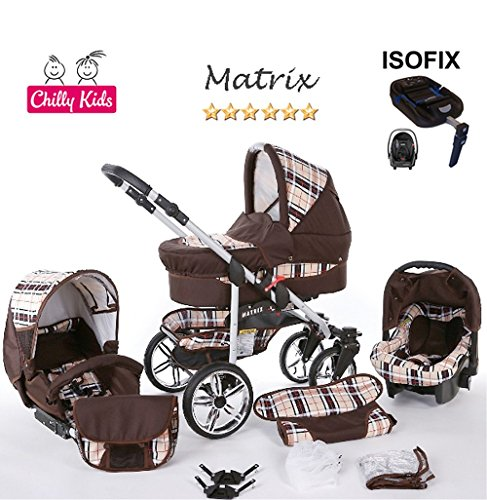 Chilly Kids Matrix II Kinderwagen Safety-Winter-Set (Winterfußsack, Autositz & ISOFIX Basis, Regenschutz, Moskitonetz, Schwenkräder) 49 Braun & Karo