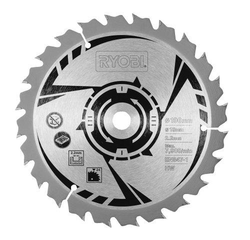 Ryobi Lame de scie circulaire TCT compatible EWS1266HG/ RWS12504-G/ EWS1366HG/ RWS14004-K 24dents 190mm