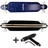 FunTomia® Longboard Skateboard Drop Through Cruiser Komplettboard mit Mach1® High Speed Kugellager T-Tool