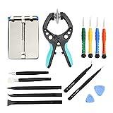 LCD-Bildschirm Zange Öffnung Reparatur Tool Kit mit PCB Beschläge, ESD Pinzette, Öffnung Pry Werkzeuge, Schraubendreher, Schaber Messer und Tranchiermesser für Handy und elektronische Produkte Wartung
