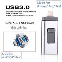 FeliSun Nuevo diseño de 16 GB USB i-Flash Drive Memory Stick adaptador de lector de tarjetas con tres interfaces [Lightning, USB3.0 y Micro USB] Para iPhone iPad iPod Android Celulares Tablets PC Macbook