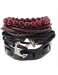A Bracelet Tissé RéTro Bracelet En Cuir Multi-éTages