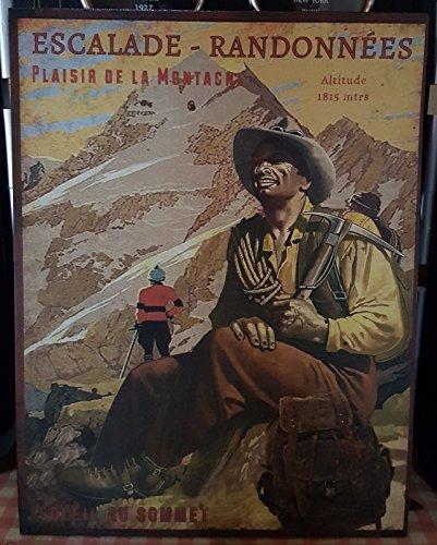 Antic Line Plaque «Escalade et randonnée Plaisir de la Montagne »25 * 33 cm