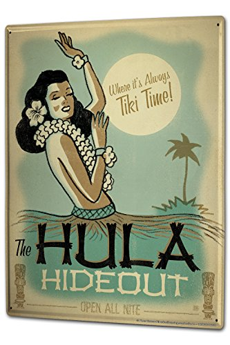 Cartel-Letrero-de-Chapa-XXL-Diverson-Hula-Escondite-refugio-Hawaii-Chica