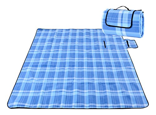 Honeystore Flanell Wasserdichte Yoga Matte Strand Ausflug Picknickdecke Mit Tragegriff 200*200 CM Himmelblau Karo