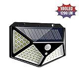 100 luces solares LED para exteriores, luces de seguridad con sensor de movimiento a prueba de agua con 3 modos de iluminación, luces de pared de 270º Luces con energía solar (1 PCS)