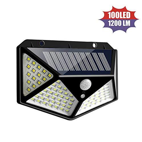 100 luces solares LED para exteriores, luces de seguridad con sensor de...