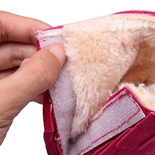 Saingace Krabbelschuhe boots Baby halten warme Doppeldecker-Troddeln weiche Sole-Schnee-Aufladungen weiche Krippe-Schuh-Kleinkind-Aufladungen Hot Pink