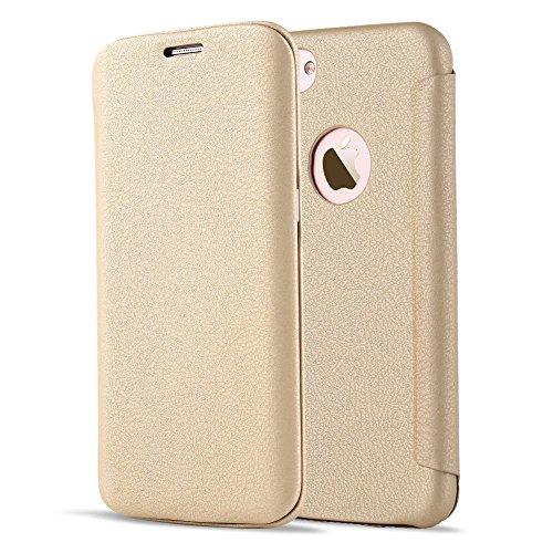 LCHULLE iPhone 5 / 5S / SE Hülle 4,0 Zoll, Prämie Buch Entwurf Flip PU Leder Telefon Fall, Weich Flexibel Ultra Schlank Leder Zurück Fall Abdeckung-Gold - Flip-telefon Fall Iphone