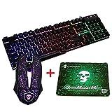 UrChoiceLtd MeiYing T6 Rainbow Backlit Ergonomic Usb Gaming Keyboard + 2400DPI 6 Buttons