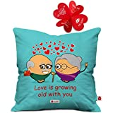Indigifts Red Hearts Cute Throw Pillow Valentine Love Growing Cushion Cover 12X12 With Filler