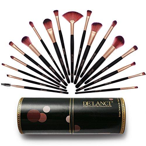 DE'LANCI Pinceaux à maquillage -16pcs Pinceau à maquillage avec pinceau Pinceau à fond de teint Pinceau à poudre Pinceau à fard à paupières Pinceau (16 pièces, noir)