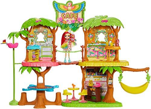 Enchantimals GFN59 - Dschungelwald Café Puppenhaus Spielset mit Papagei Puppe und Tier, Puppen Spielzeug ab 4 Jahren