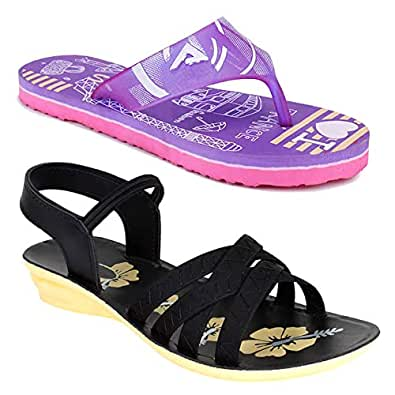 WORLD WEAR FOOTWEAR Women Multicolour Latest Collection Sandal & Slippers-Pack of 2 (Combo-(2)-1179-983)