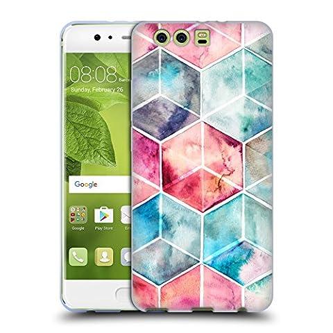 Offizielle Micklyn Le Feuvre Hexagon Kuben Muster 6 Soft Gel Hülle für Huawei P10 Plus