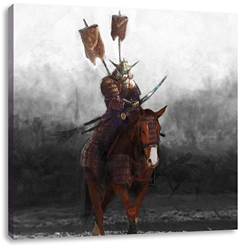 Pixxprint Samurai Guerriero su Un Cavallo 60x60 cm Stampa su Tela Decorazione