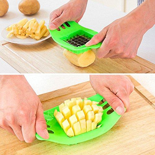 zhang-hongjun,Edelstahl-Kartoffel-Schneidegerät-Quadrat-Slicers Cut Fries-Gerät(Color:GRÜN)