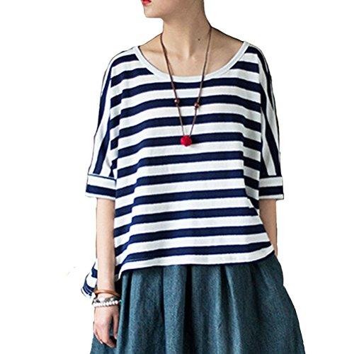 Aeneontrue11 T-Shirt - A Righe - Donna Blue Stripes Taglia Unica