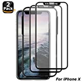 iPhone X Screen Protector, Surwell 2 Pack iPhone X 10 Tempered Glass Screen Protector Face ID Compatible with Installation Tray (Black Edge)